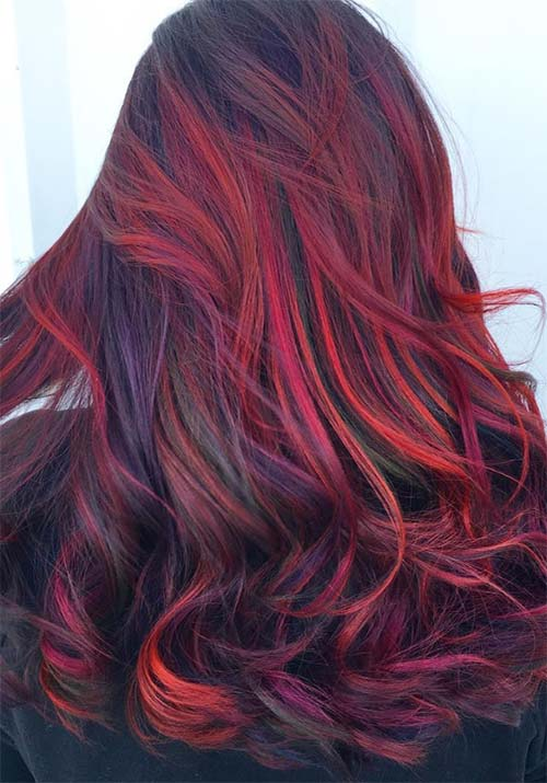 Red Purple Hair Sindri Priyanka Hairstyle