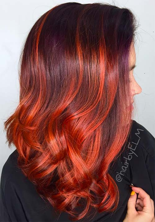 Image result for Brown and red-painted hair trend