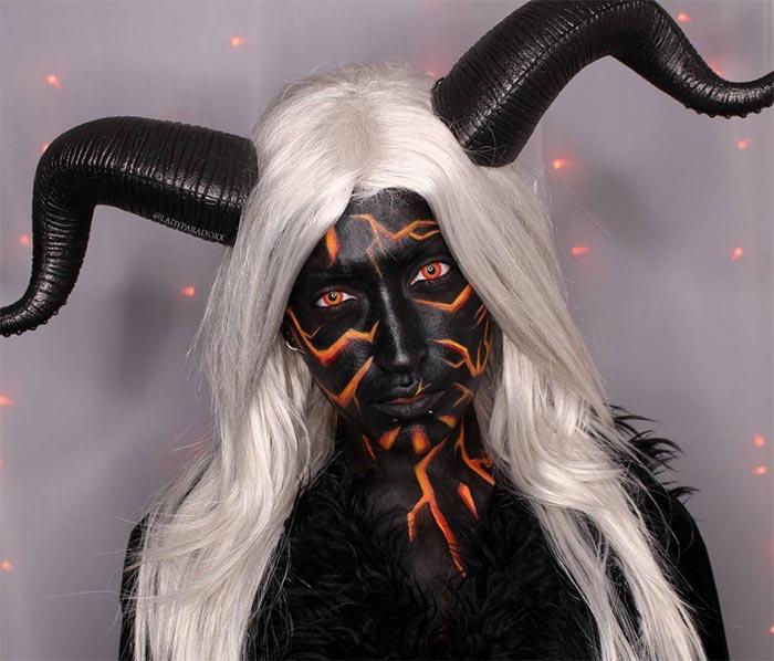 Creative Halloween Makeup Ideas: Horned Demon Halloween Makeup