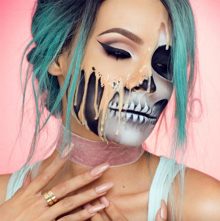 Creative Halloween Makeup Ideas: Melted Skull Face Halloween Makeup