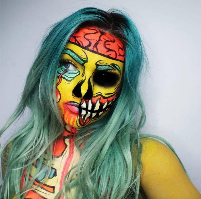 Creative Halloween Makeup Ideas: Neon Zombie Halloween Makeup