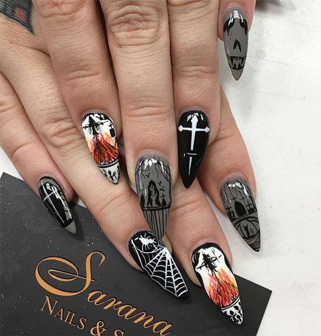 50 Awe-Inspiring Halloween Nail Art Designs - 50 Awe-Inspiring Halloween Nail Art Designs Fashionisers©