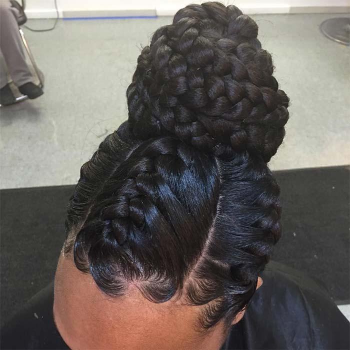 Black Hair Braided Bun Hairstyles Hairstyles