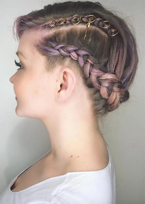 Pretty Holiday Hairstyles Ideas: Pierced Tight-Braided Updo