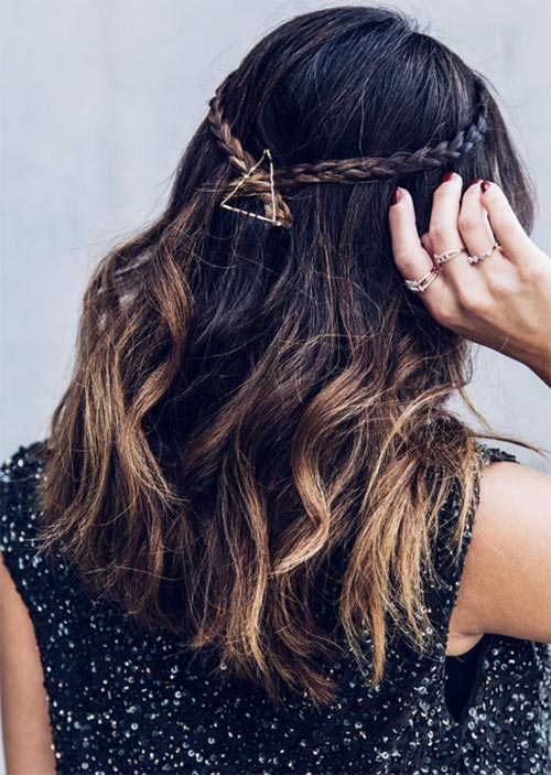 Pretty Holiday Hairstyles Ideas: Braided Half-Up Hairstyle