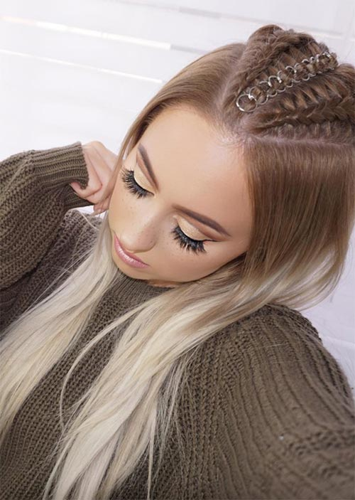 Pretty Holiday Hairstyles Ideas: Pierced Cornrow Braided Hair