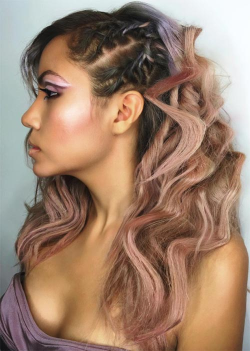 Pretty Holiday Hairstyles Ideas: Twisted Wavy Hair