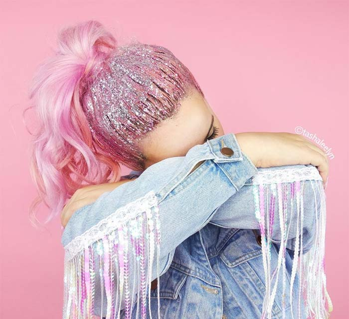 Glitter Hairstyles Ideas: Candy Pink Glitter Ponytail
