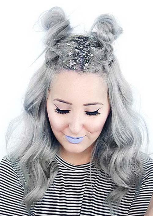 Glitter Hairstyles Ideas: Silver Glitter Hair