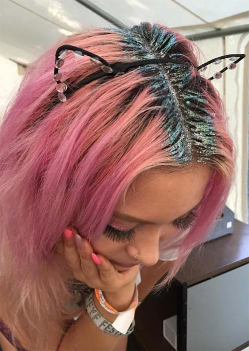 Glitter Hairstyles Ideas: Pink Hair with Glitter Roots