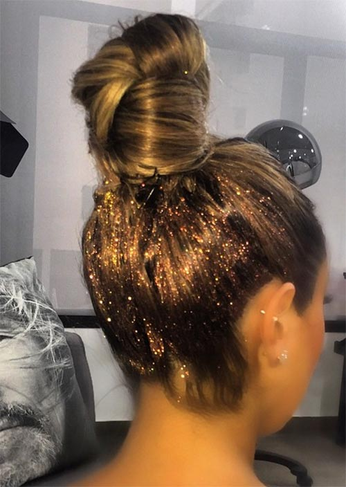 Glitter Hairstyles Ideas: Glitter High Bun