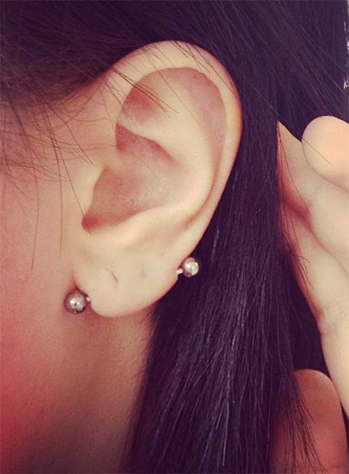 Types of Body Piercings: Ear Piercings - Transverse Lobe Piercing