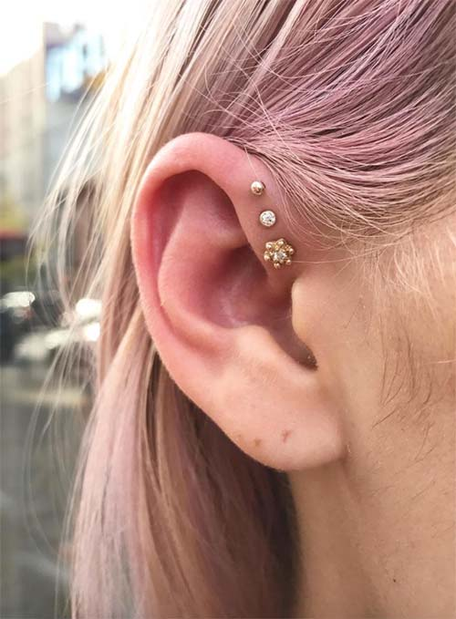 Types of Body Piercings: Ear Piercings - Triple Helix Piercing