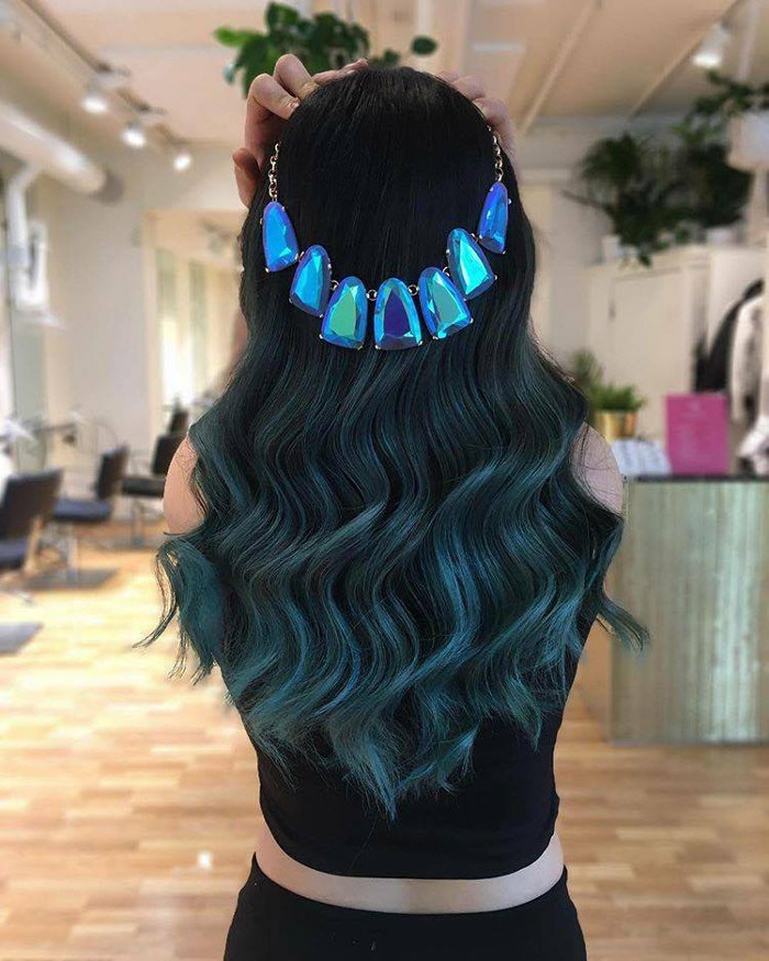 Ocean Hair Trend Blue Wavy Hair