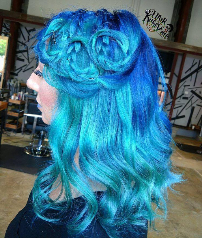 Ocean Hair Trend Blue Hair with Braids