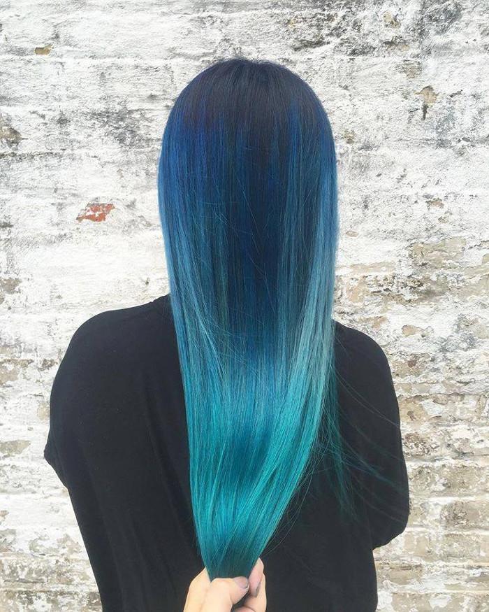 Ocean Hair Trend straight blue hair