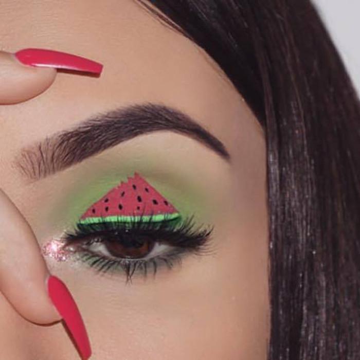 watermelon makeup Instagram trend watermelon eye makeup