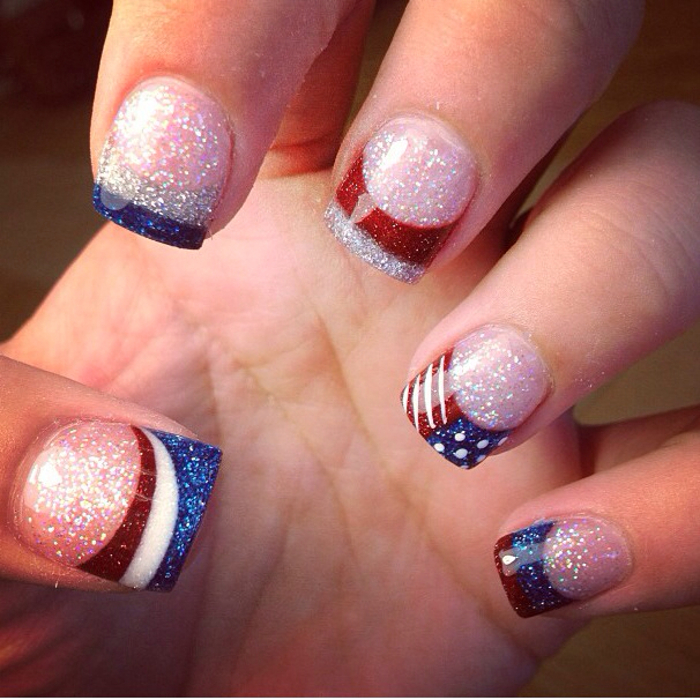 4th of July Nail Art Design Glitter American Flag Manicure