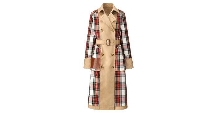 J.W. x Uniqlo Collaboration trench coat with plaid details