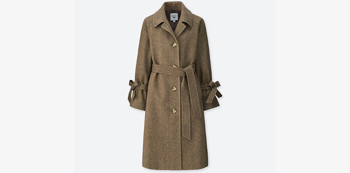 J.W. x Uniqlo Collaboration light brown belted coat