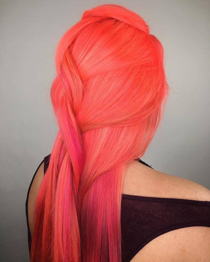 Neon Peach Hair Is The New Instagram Trend Long Neon Peach braided Hair