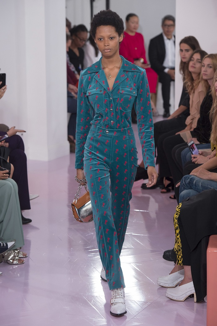 Chloé RTW Spring 2018 Collection at PFW blue patterned pants shirt