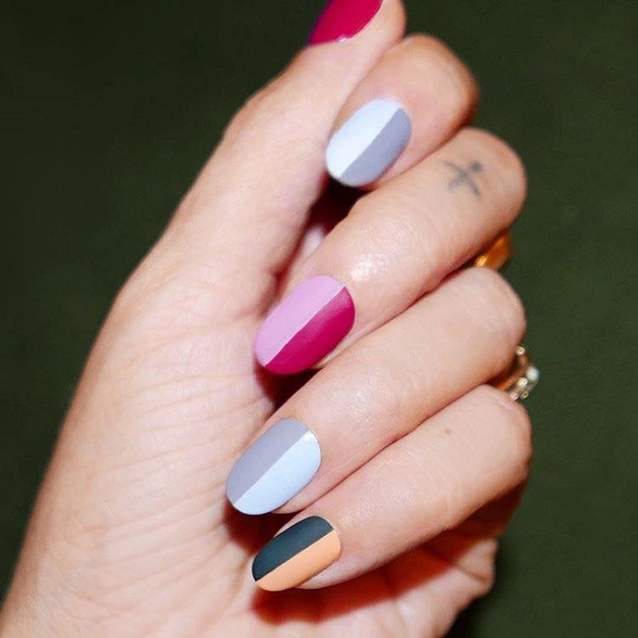 Fun Matte Nail Designs To Try two color nails