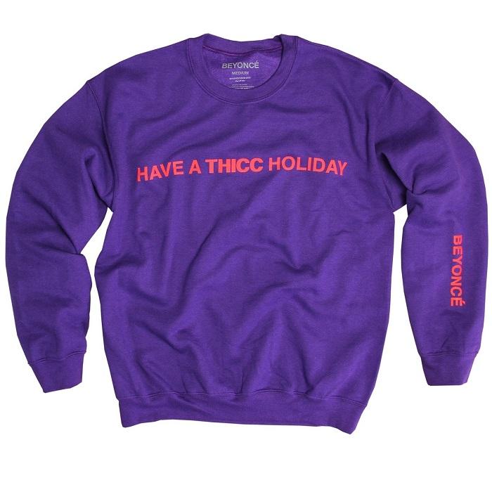 Beyoncé Dropped Holiday Merchandise purple sweatshirt