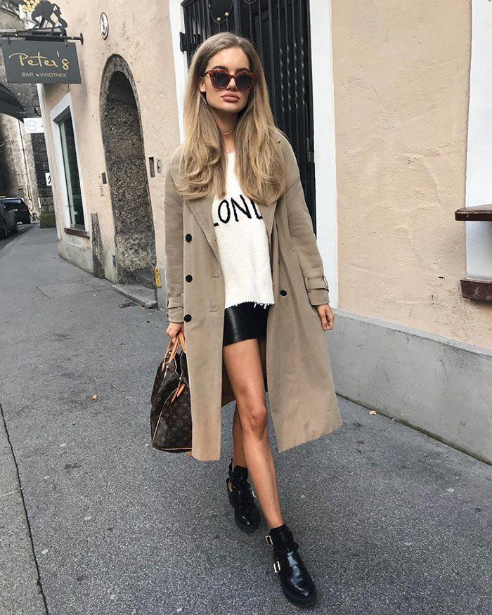 How to upgrade your style with neutral colors this fall taupe coat, white blouse and leather skirt