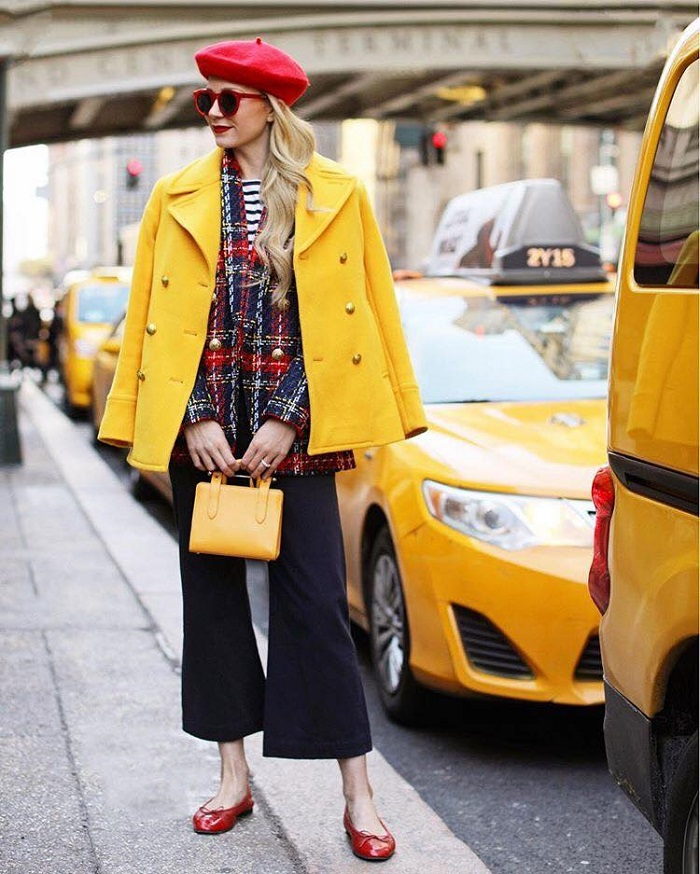 Colorful Outfits to Brighten Up the Cold Days plaid blazer yellow coat black jeans