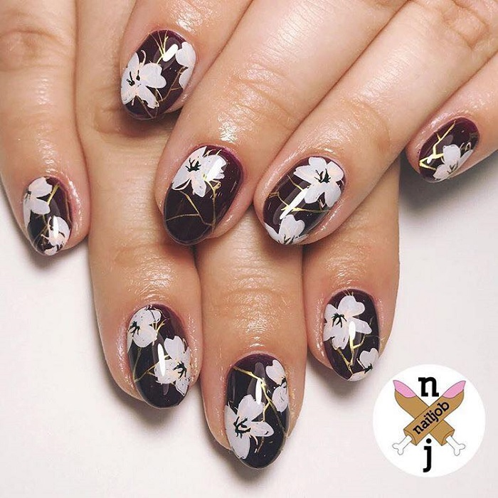 Gorgeous Floral Nail Art to Get You Hyped for Spring burgundy nails white flowers