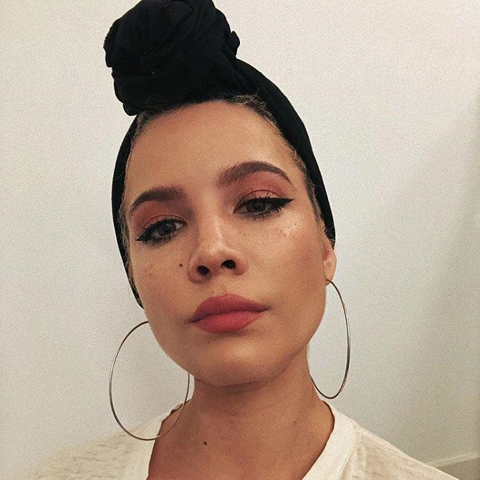 Halsey is The New Face of YSL Beauté hoop earrings pink eyeshadow