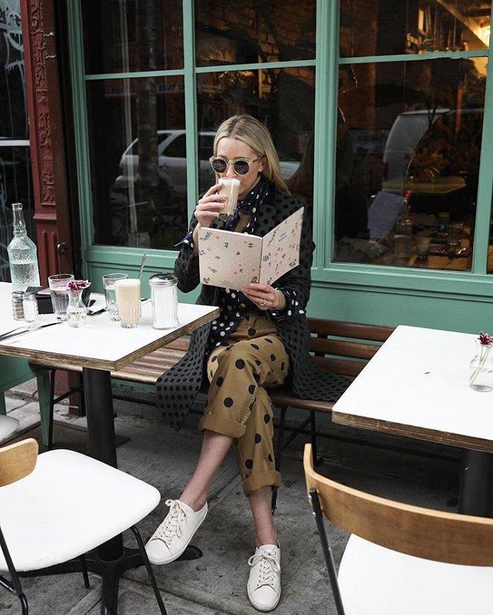 Polka Dot Craze How to Rock the Trendiest Print of 2018 black top burgundy polka dot pants shirt coat
