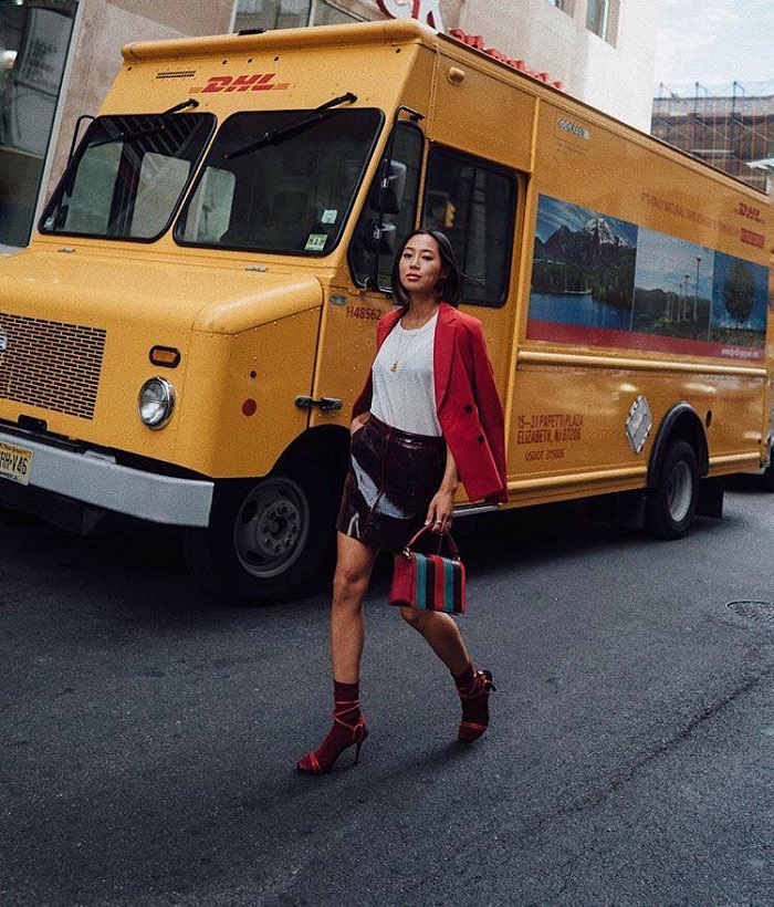 Socks and Heels Is the Statement Combo You Need in Your Life burgundy skirt shirt jacket