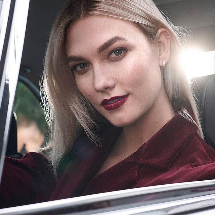 Karlie Kloss is Estée Lauder's New Ambassador burgundy lipstick blazer