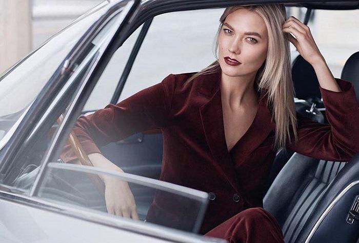 Karlie Kloss is Estée Lauder's New Ambassador burgundy lipstick blazer pants