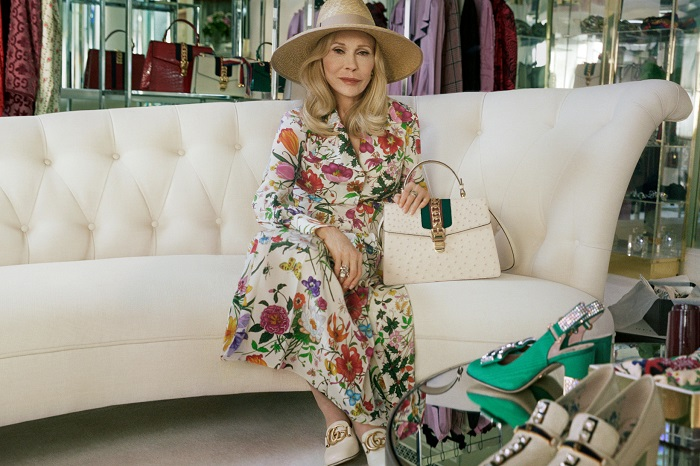 Faye Dunaway Fronts Gucci's Sylvie Bag Ads At 77 floral dress