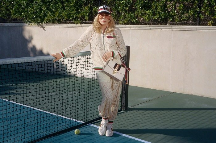 Faye Dunaway Fronts Gucci's Sylvie Bag Ads At 77 tracksuit