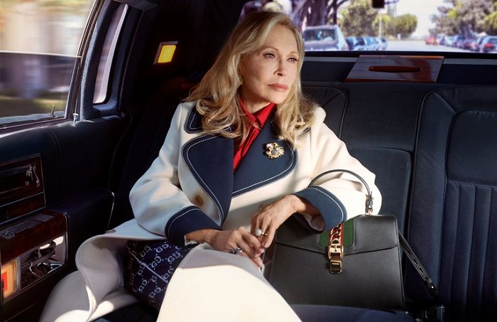 Faye Dunaway Fronts Gucci's Sylvie Bag Ads At 77 white navy coat navy bag