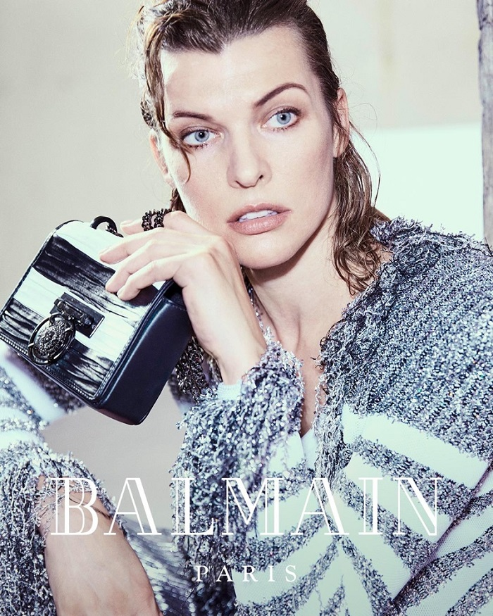 Milla-Jovovich-Fronts-Balmain's-Fifth-Element-Inspired-Fall-2018-Ads-stripe sweater