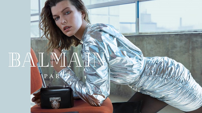 Milla-Jovovich-Fronts-Balmain's-Fifth-Element-Inspired-Fall-2018-Ads-silver dress