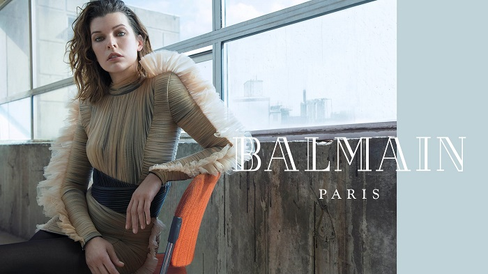 Milla-Jovovich-Fronts-Balmain's-Fifth-Element-Inspired-Fall-2018-Ads-nude and black dress