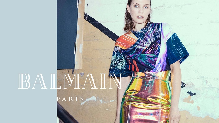 Milla-Jovovich-Fronts-Balmain's-Fifth-Element-Inspired-Fall-2018-Ads-holographic skirt printed top