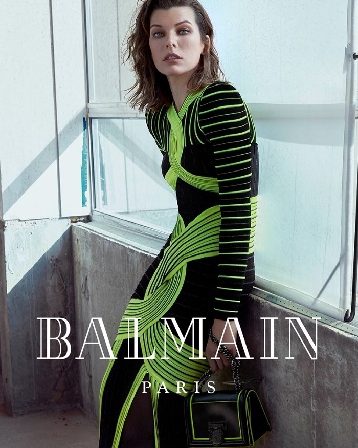 Milla-Jovovich-Fronts-Balmain's-Fifth-Element-Inspired-Fall-2018-Ads-black neon green dress