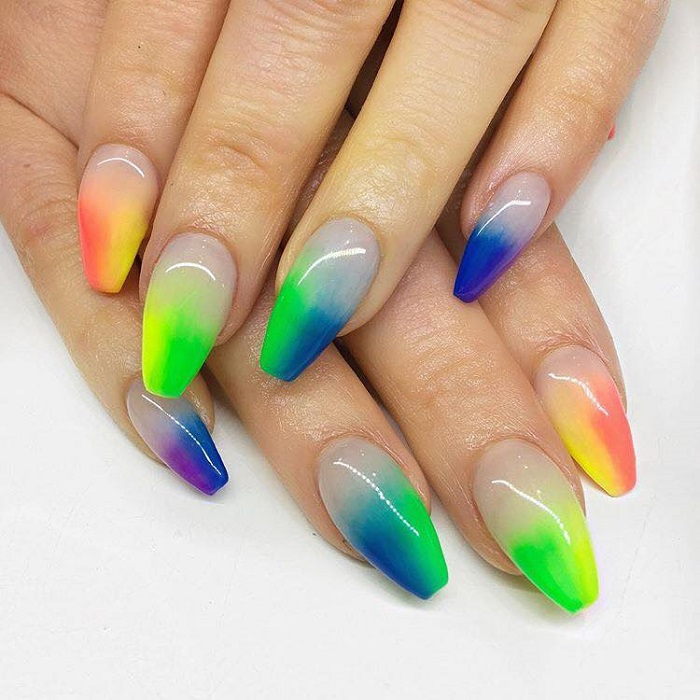 Neon-Nail-Designs-To-Finish-Off-Summer-With-Style rainbow neon