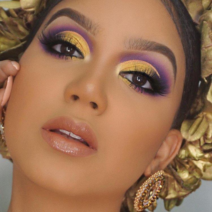 Summer-Makeup-Ideas-Hotter-Than-The-Weather-purple and gold makeup